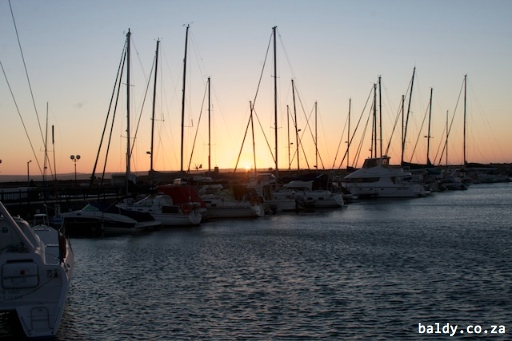 Sunset over Langebaan harbour